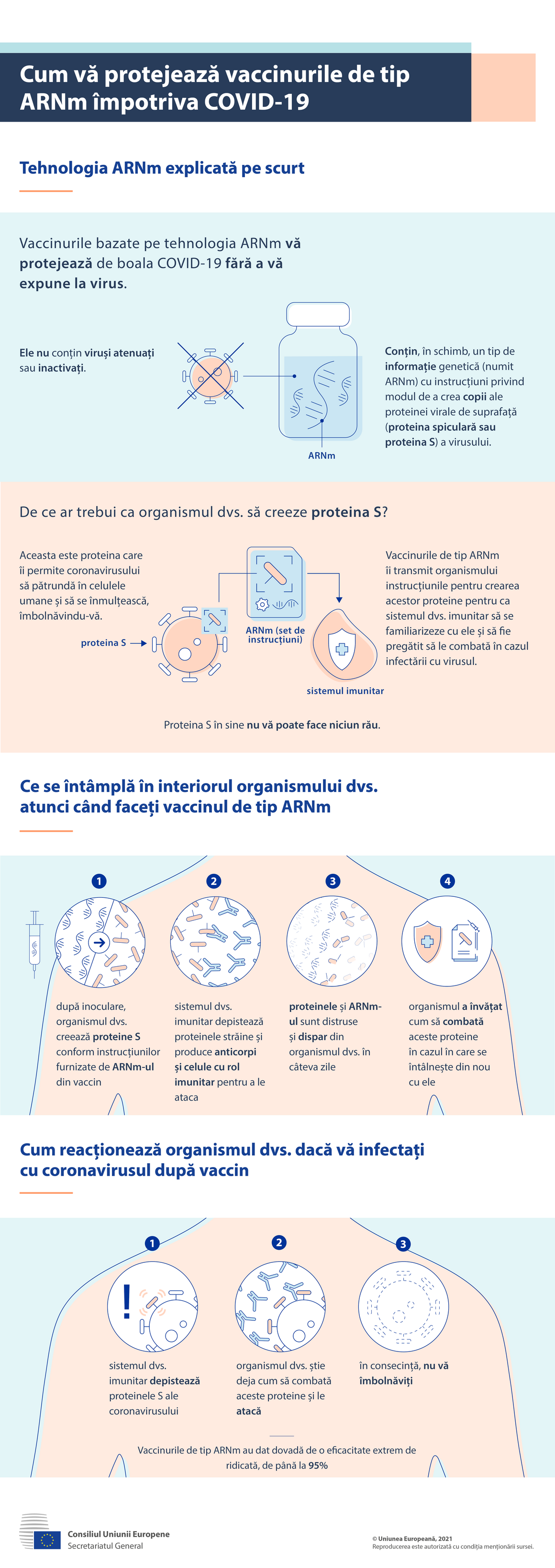 Esta infografia fornece informações sobre o funcionamento das vacinas ARNm.