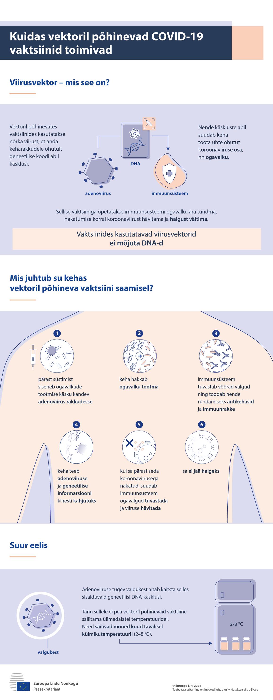 Infograafik – kuidas viirusvektoril põhinevad vaktsiinid toimivad COVID-19 vastu